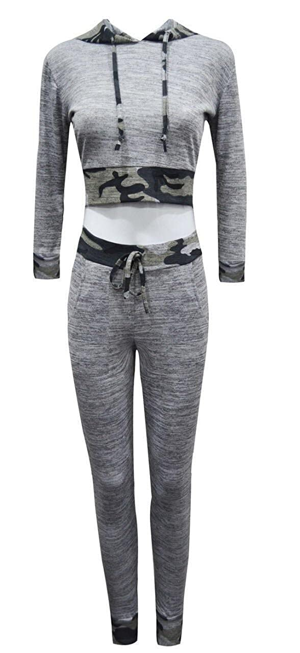 GirlzWalk ® Women Camouflage Trim 2 Piece Hooded Crop Top Lounge Suit Tracksuit