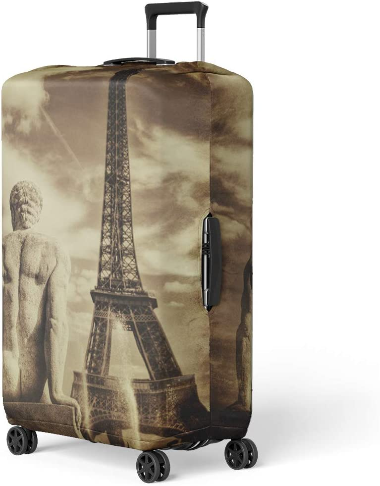 Pinbeam Luggage Cover Architecture Vintage Sepia of Tour Eiffel Tower Travel Suitcase Cover Protector Baggage Case Fits 22-24 inches