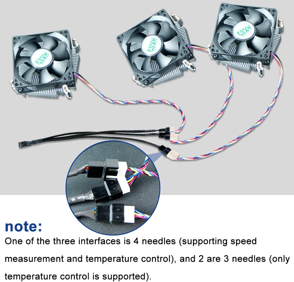 1 to 3 Splitter,2-Pack Yeung Qee PWM Fan Splitter Cable Sleeved Braided Y Splitter Computer PC 4 Pin Fan Extension Power Cable 1 to 3 Ways Converter 10 inches