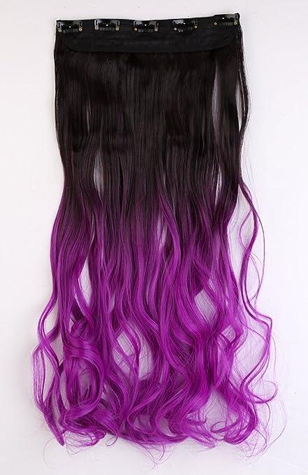 Una pieza color marrón oscuro a morado Clip en Ombre Extensiones de pelo Half Full cabeza 23