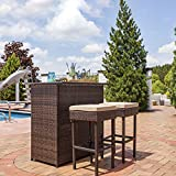 Sunnydaze Melindi 3-Piece Wicker Rattan Outdoor Patio Bar Set