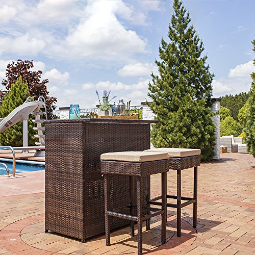 Sunnydaze Melindi 3-Piece Wicker Rattan Outdoor Patio Bar Set with Tan Cushions