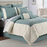 Hathaway 8 Piece Stripes Geometric Pleated Hotel Frame Aqua Teal Quilted Bedding QUEEN Comforter Set