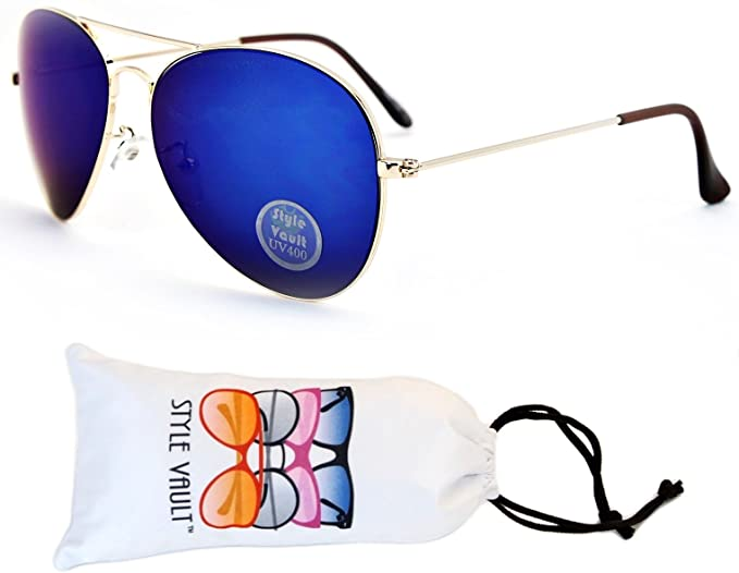 Amazon.com: a129-vp estilo Vault metal Aviator anteojos de ...