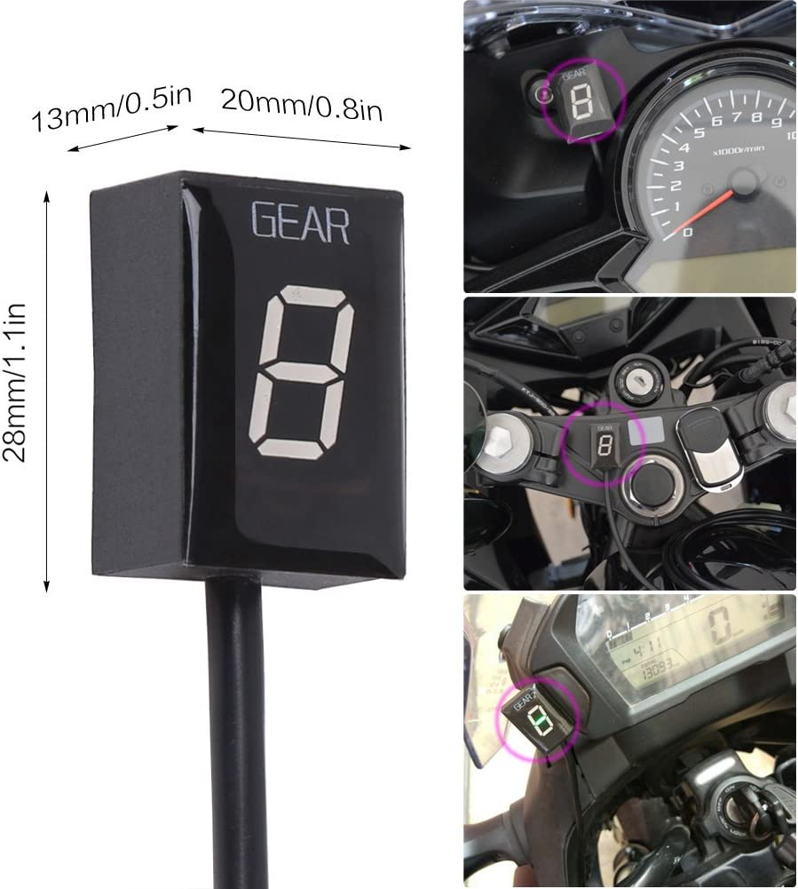 Red,Year 1999-2009 IDEA Motorbike Gear Indicator No Need to Cut Lines//Read ECU Data Only Waterproof LED Display Motorcycle Indicator