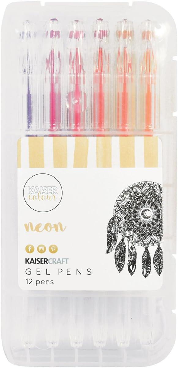 8,5 x 17 x 3 cm Plastique Multicolore Kaisercraft CL110 Lot de stylos gel-Fluorescentes-12 Coloris