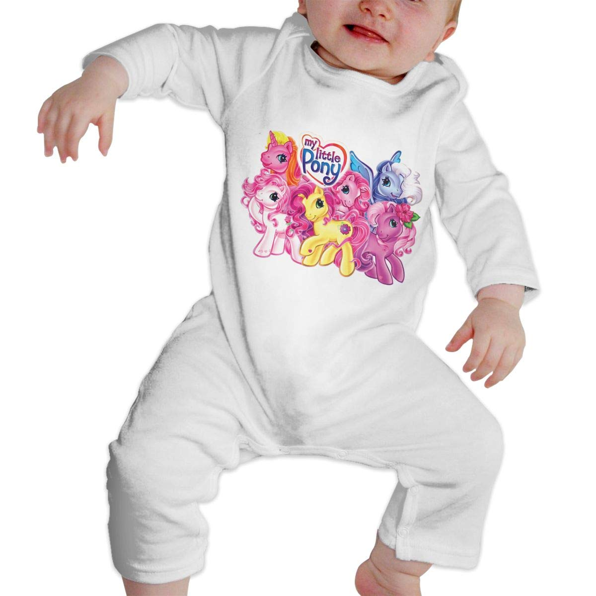 Baby Boy Girl Round Neck Long-Sleeve Pure Color Romper Jumpsuits Sleepwear