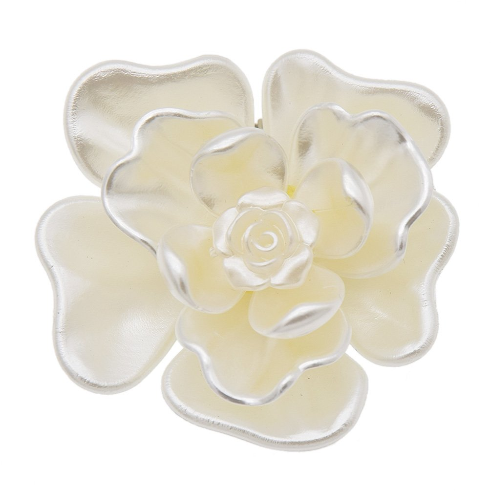 YNuth Femme Clip Chaussure Fleur Blanche Style Effet Coquillage