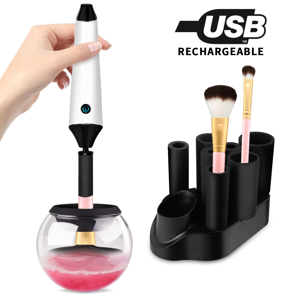 Makeup Brush Cleaner, Morpilot Rechargeable Electronic Spinning Brushes Cleaner and Dryer Machine, Instantly 360 Rotation Cleans and Dries Makeup Brushes in Seconds(Include 7 Rubber Collars) (Brush Cleaner)