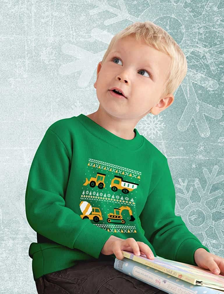 Tractors /& Bulldozers Ugly Christmas Sweater Style Toddler//Kids Sweatshirts