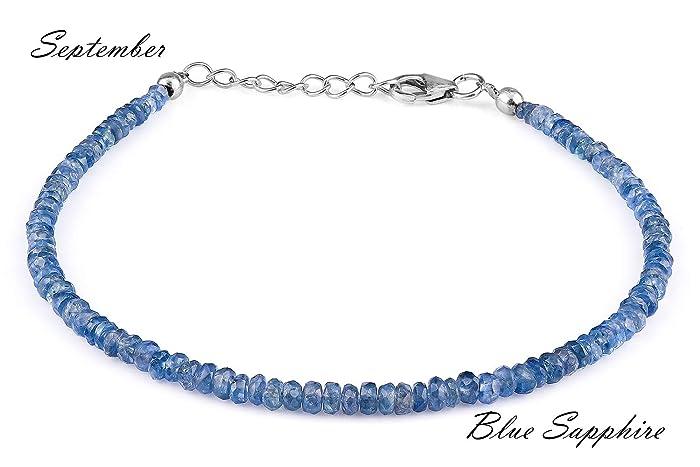 Amazon.com: Beaded Bracelet Gemstone Blue Sapphire Beaded Jewelry ...