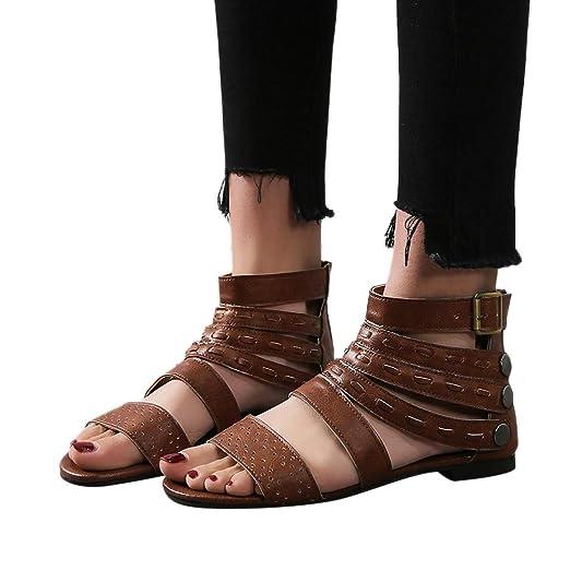 e59c0a9aa6f72 Amazon.com: 2019 New! Womens Retro Flats Bandage Roman Shoes Open ...