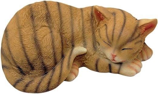 1PLUS poliresina Figuras Jardín Figura de Gato durmiendo, Pintado a Mano, Resina Animales Decoración: Amazon.es: Jardín