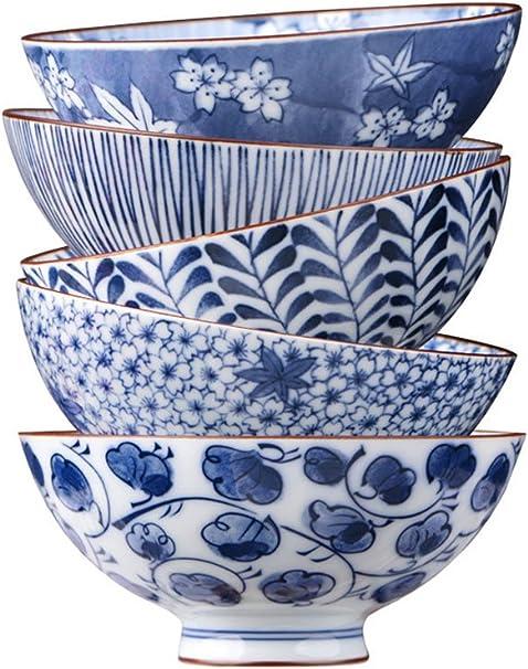 Hh001 Juego de tazones japoneses de Porcelana Azul y Blanca, Ramen/Fruta/ensaladera, Juego de 5 (tamaño: 4.5 Pulgadas, 5.5 Pulgadas) (Color : 5.5INCH): Amazon.es: Hogar