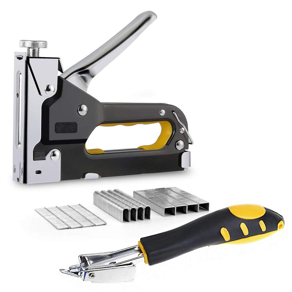 Staple Gun 3 in 1 Heavy Duty with Staple Remover, Hand Operated Stainless Steel Stapler Brad Nail Gun, Upholstery, Decoration, Carpentry, Furniture, Doors And Windows, Billboards, 600 Staples Attached