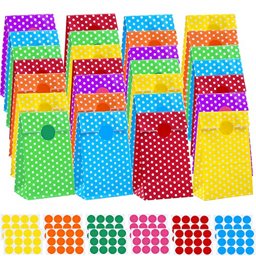 (Coobey 60 Pieces Mini Paper Bags Grocery Kraft Paper Bags Flat Bottom Party Bags with 144 Pieces Stickers for Birthday Tea Wedding Party)