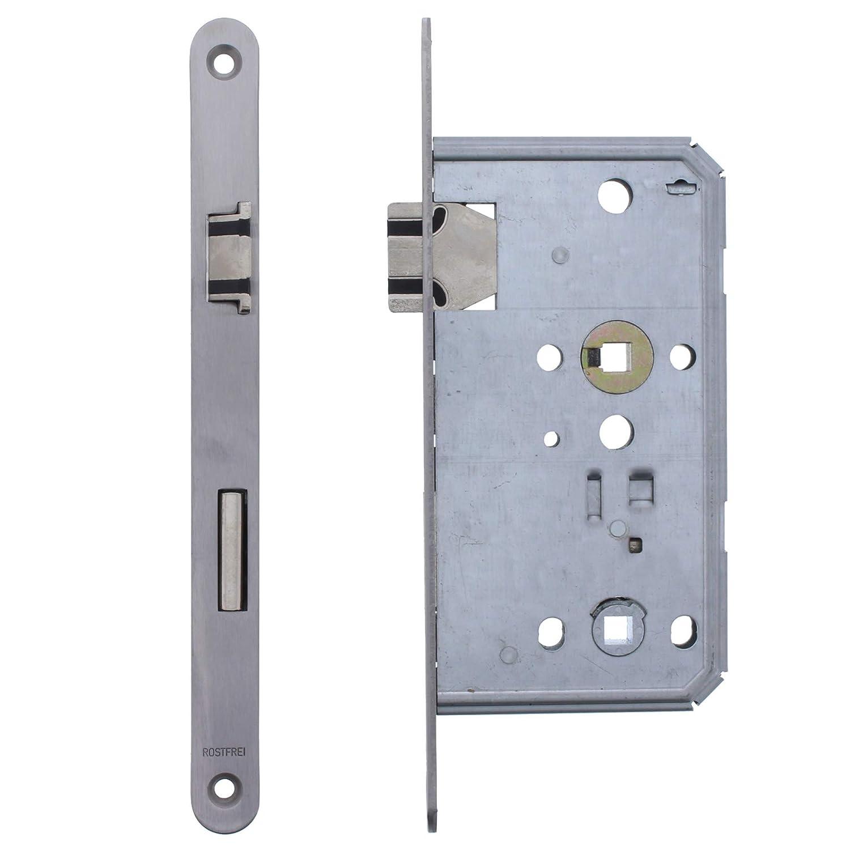 ToniTec/® Einsteckschloss Soft Lock Fl/üsterfalle 55//72//8 Edelstahl Stulp 20x235mm