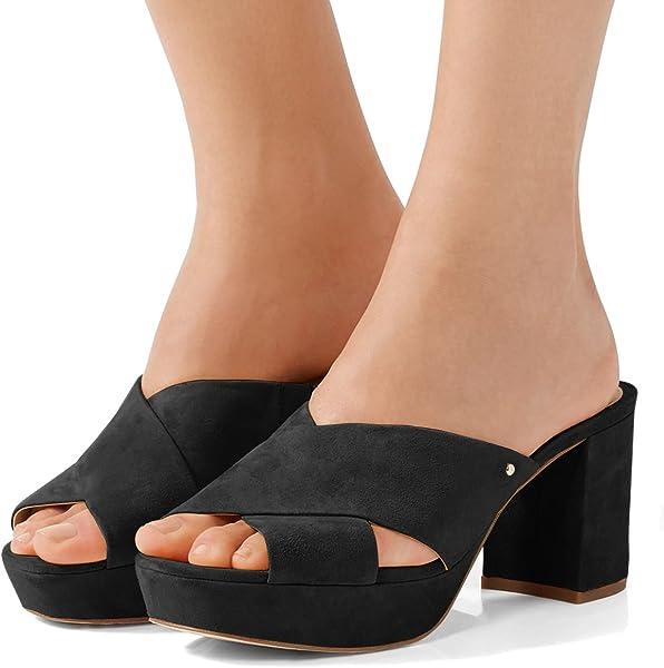 7f45198b1f2 YDN Women Cross Strap Peep Toe Platform Chunky Block Heel Mules Pumps Slide Sandals  Black 10