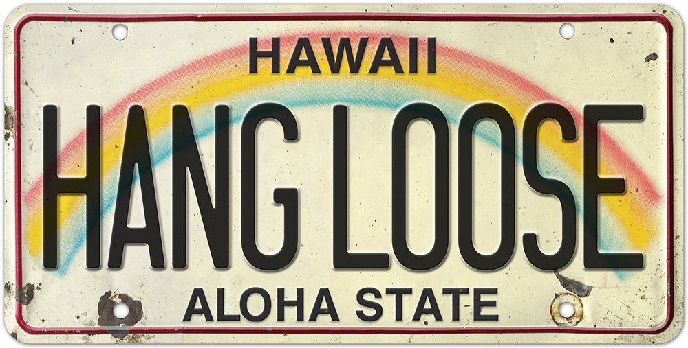 Pacifica Island Art 6in x 12in Vintage Hawaiian Embossed License Plate - Hang Loose