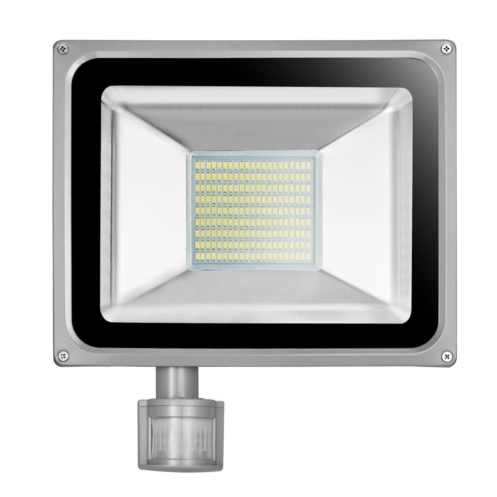 10W 30W 50W 100W Lámpara de inducción Sensor de infrarrojos PIR Motion Cuerpo Flood luces LED, IP65 impermeable jardín LED de seguridad foco (100) [Clase de eficiencia energética A+] HimanJie