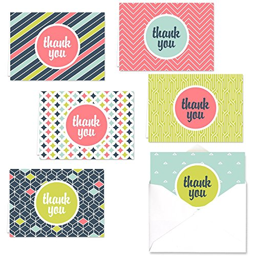 Mod Thank You Note Card Assortment Pack - Set of 36 cards - 6 designs blank inside - with white envelopes (53876)