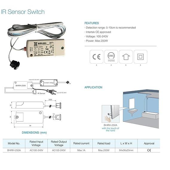 Última bhirh de PP-250 A patentada 250 W IR Sensor de Interruptor doble voltaje 100 - 240 V inteligente Luz Lámpara Enmienda de la fernerkundung Cambiar ...