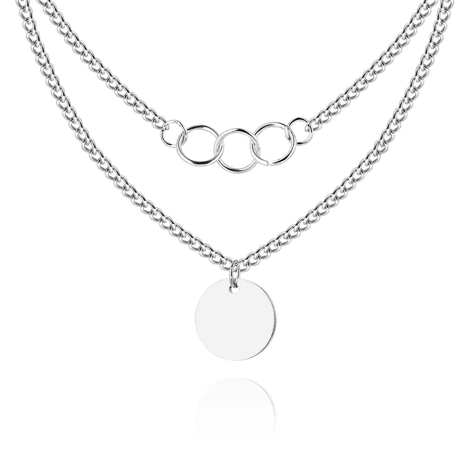 Cherisherre Women's Dual Layer Necklace,Silver Tone Medium Round Pendant Necklace with Stainless Steel Chain