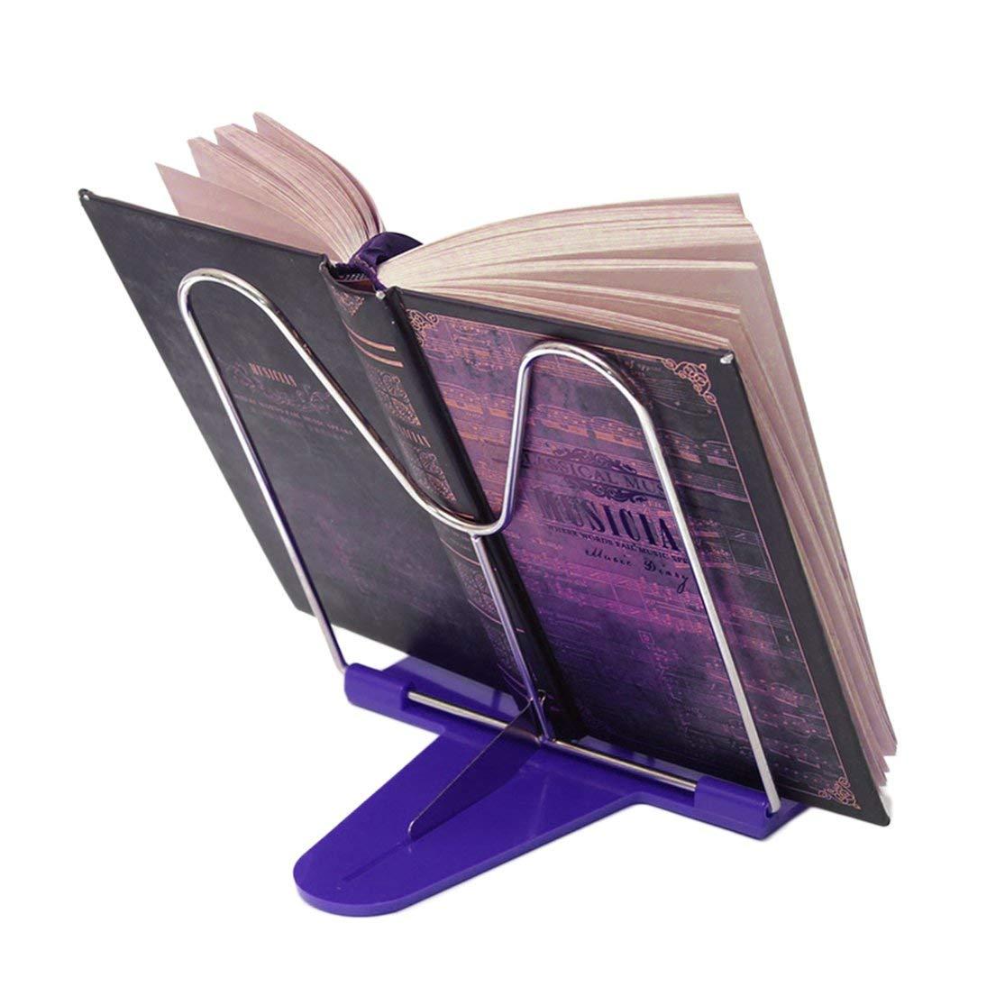 Color:blue Conveniente angolo regolabile durevole pieghevole libro di lettura portatile stand supporto per documenti scrivania fornitura ufficio in acciaio inox Rack base in plastica