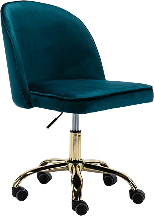 Amazon Com Kmax Desk Chair Velvet Home Office Chair Adjustable Armless Task Chair With Gold Frame For Small Space 360 Swivel Reception Chair Dark Teal Kitchen Dining