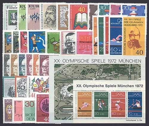 Goldhahn BRD Bund Jahrgang 1972 postfrisch ** MNH komplett Briefmarken für Sammler