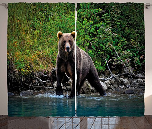 Ambesonne Cabin Decor Curtains, Grizzly Brown Bear in Lake Alaska Untouched Forest Jungle Wildlife Image, Living Room Bedroom Window Drapes 2 Panel Set, 108 W X 84 L Inches, Green Brown Blue