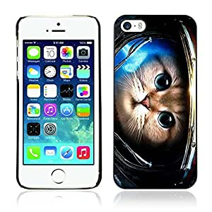Colorful Printed Hard Protective Back Case Cover Shell Skin for Apple iPhone 5 / 5S ( Cute Astronaut Kitty Cat )