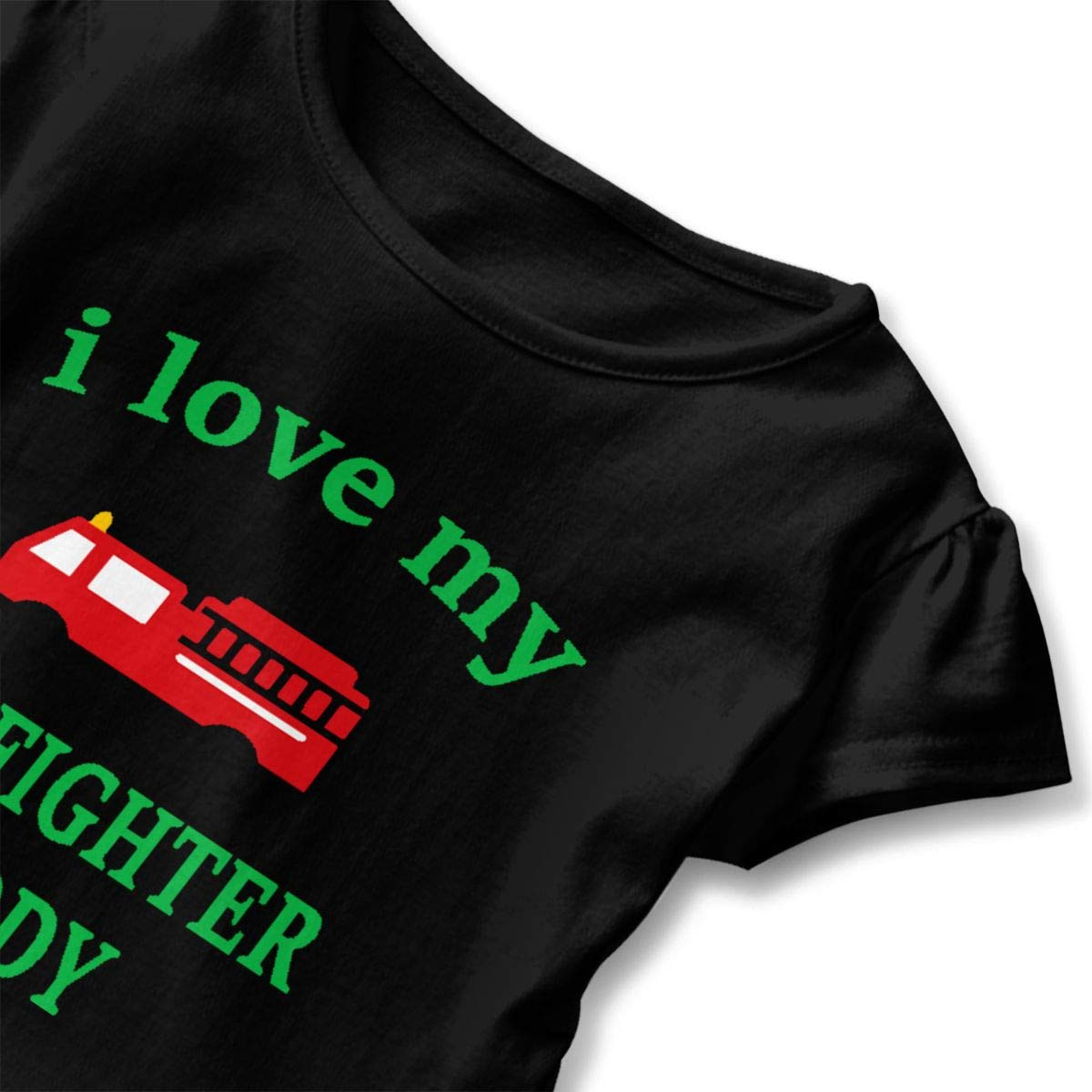 I Love My Firefighter Daddy T-Shirt Baby Girls Flounced T Shirts Funny Tee Shirts for 2-6T Baby Girls