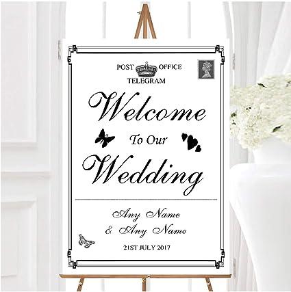 Vintage Telegram - Cartel de bienvenida para boda, diseño de ...