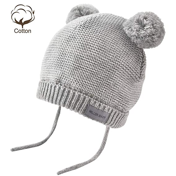 e5133e1f9ffcd Amazon.com  Aablexema Baby Beanie Hat with Ears - Infant Toddler Kids  Toddler Winter Warm Knitted Earflap Hat Pom Pom Cap for Boys Girls  Clothing