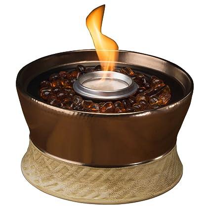 Superbe TIKI Brand Clean Burn Ceramic Tabletop Firepiece Torch, 7 Inch, Bronze