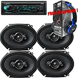 Package - 2 Pairs of Pioneer TS-A6886R 6x8 4-way 350W Car Speakers + Kenwood KDC-BT31 Single-DIN In-Dash Bluetooth CD Receiver + Free EBH700 Headphone
