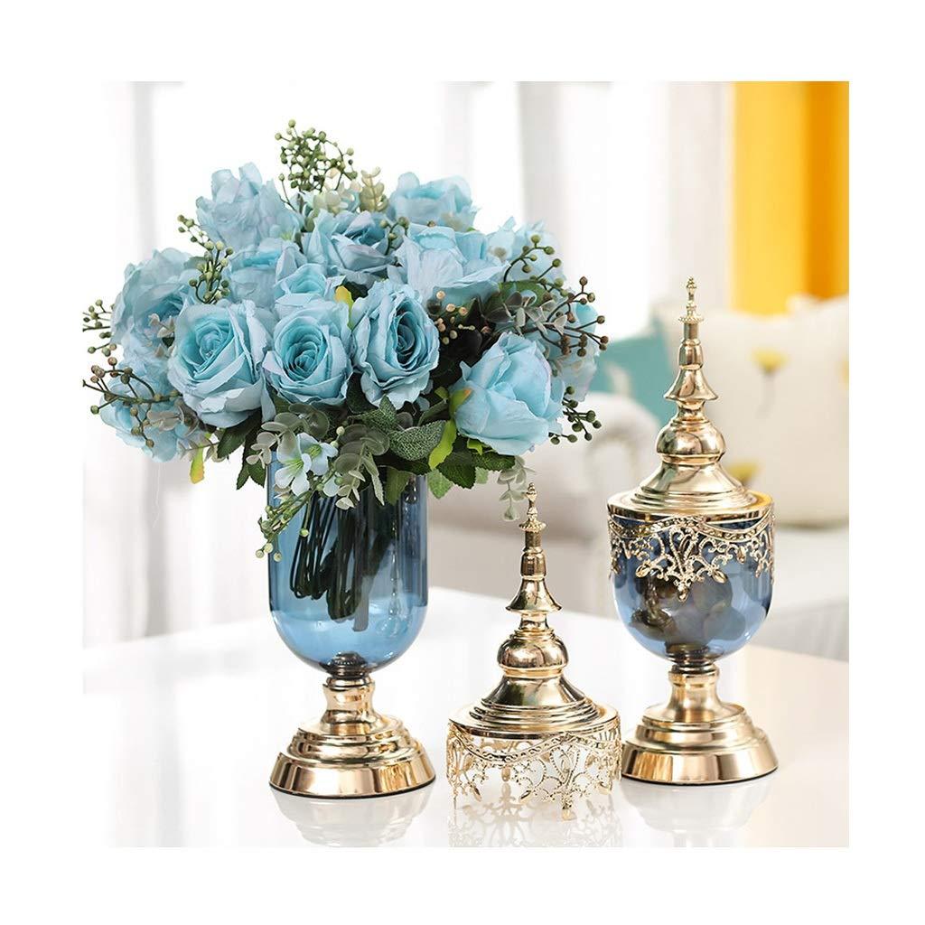 ガラス花瓶 カウンタートップ水耕植物花瓶家族バルコニー花コンテナー装飾庭の植物鍋セット B07T28JHMK