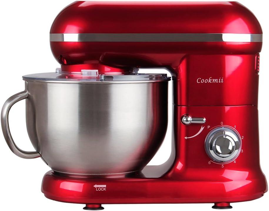 Cookmii Batidora Amasadora Repostería, Amasadoras de pan Práctica, Robot de cocina Multifuncional, Amasadoras de pan Profesional Estable Rápido, 6 Velocidades 5.5L Solid Max 1090W