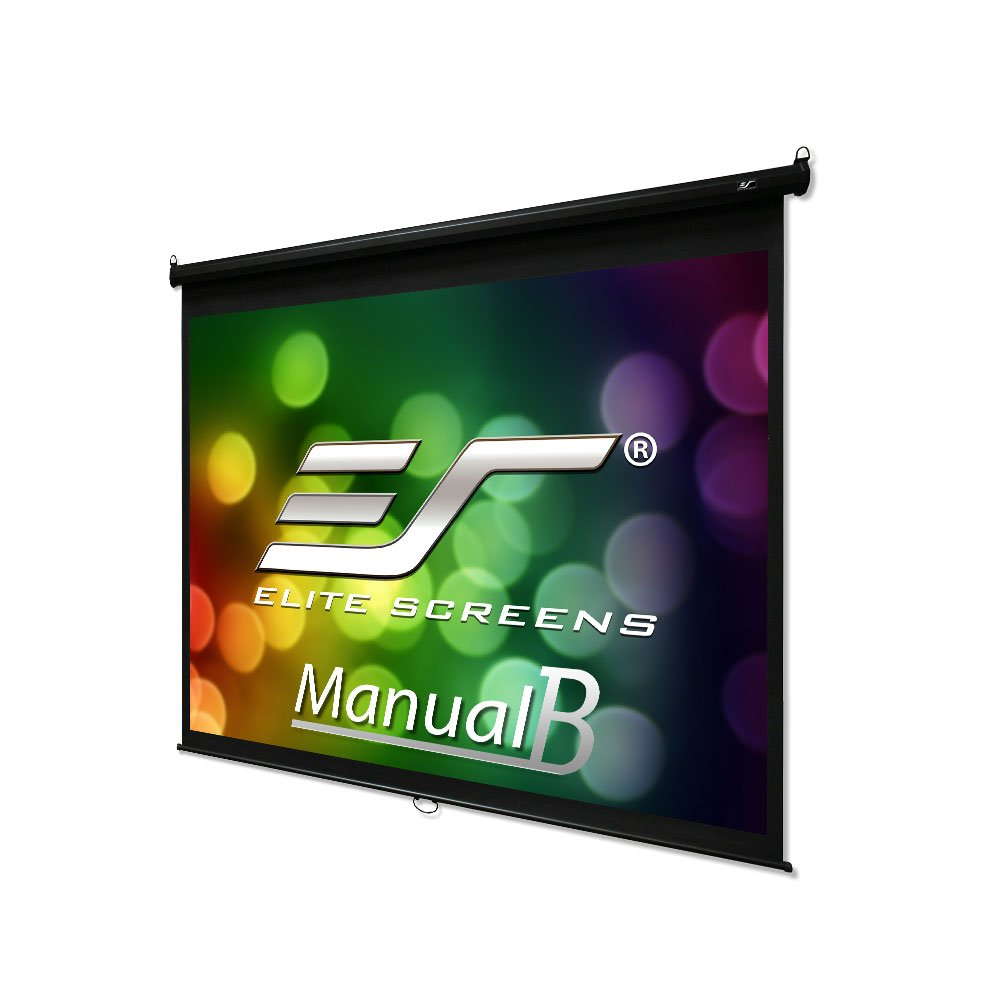 Elite Screens Manual B, 120'' 4:3, Manual Pull Down Projector Screen 4K / 3D Ready with Slow Retract Mechanism, 2 Year Warranty, M120V