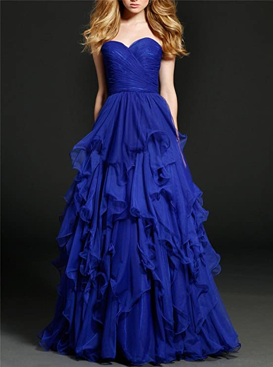 Amazon.com: CCBubble Royal Blue Long Prom Dresses Sweetheart Evening Party Dress: Clothing