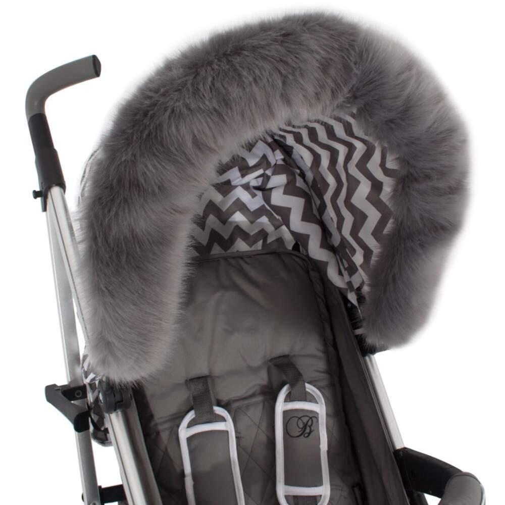 My Babiie Universal Pushchair/Stroller Grey Fur Hood Accessory