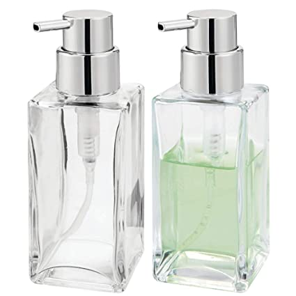 mDesign Square Glass Refillable Liquid Soap Dispenser Pump Bottle for  Bathroom Vanity Countertop, Kitchen Sink - Holds Hand Soap, Dish Soap, Hand  ...