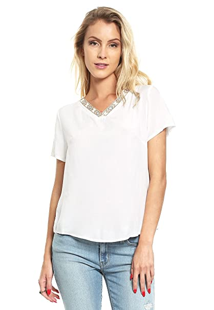 b8b00c5e62 Capricho Blusa Blanca Manga Corta Blusa para Mujer Blanco Talla L ...