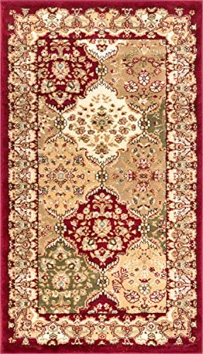 Monarch Panel Multi Color Red Oriental 2×4 2 3 x 3 11 Area Rug Persian Floral Formal Traditional Area Rug Easy Clean Stain Fade Resistant Modern Classic Contemporary Thick Soft Plush Doormat