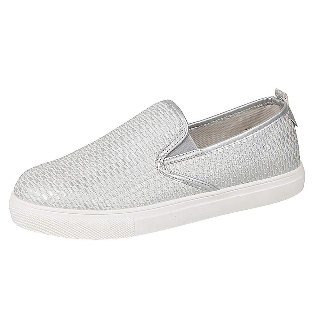 ✔ Hypothesis_X ☎ Women's Preforated Slip On Sneakers Roman Plus-Size Flat Casual Pumps Shoes Silver