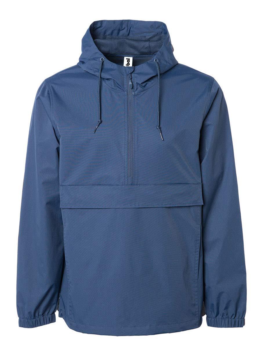 Global Blank Mens Hooded Windbreaker Raincoat Waterproof Anorak Navy Blue Medium by Global Blank