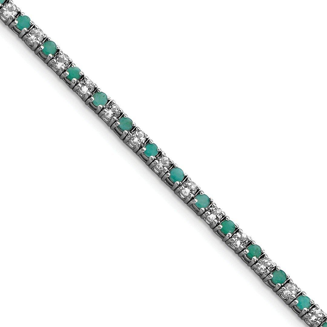 ICE CARATS 925 Sterling Silver Green Emerald White Topaz Tennis Bracelet 7.50 Inch Gemstone Add-a- Fine Jewelry Gift Set For Women Heart