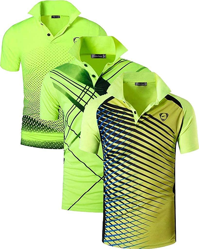 jeansian Hombre Sport Secado Rapido Mangas Largas Polo T-Shirts Transpirable Sudadera LA287