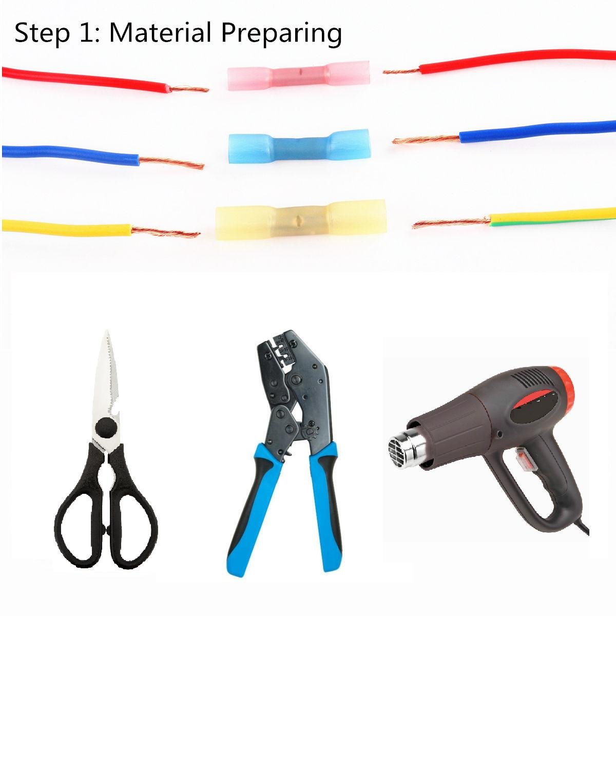 Fotag 100pcs Insulated Heat Shrink Butt Terminal Connectors Electrical Wire Waterproof Marine Automotive Crimp Grade Set Connector 10-22 AWG Kit